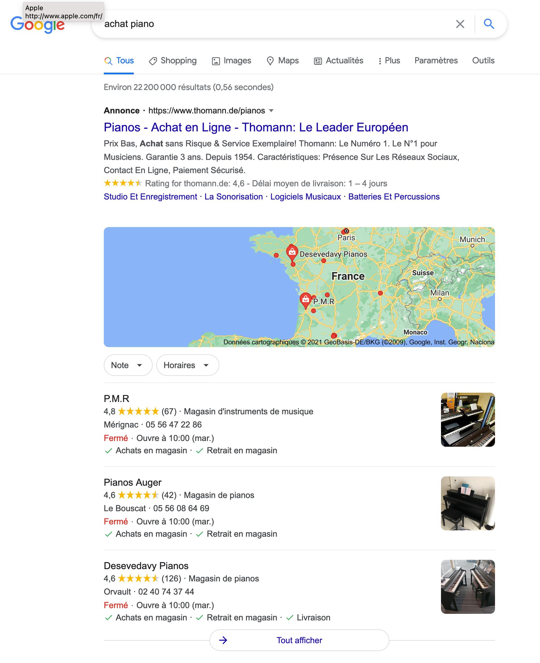 publicité sur Google