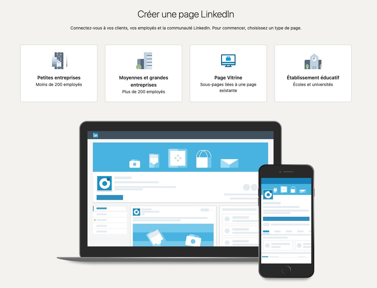 configurer sa page linkedin